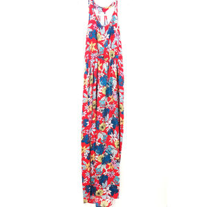 NWT Pink Rose Red Green Floral Maxi Dress